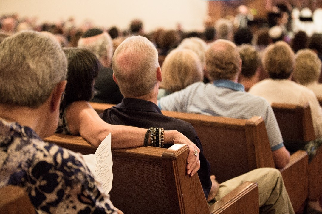 Congregants in sanctuary